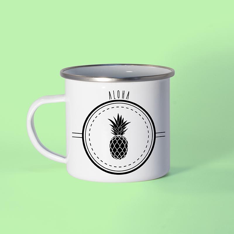 Mug en métal émaillé ananas aloha