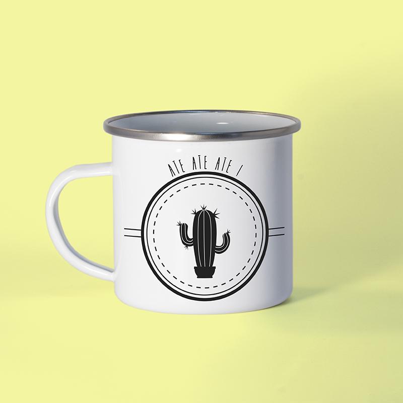 Mug émaillé cactus sur fond pastel