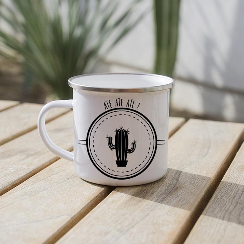 Joli mug métal avec un cactus cierge