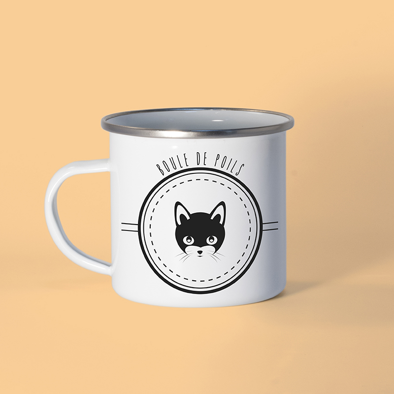 Mug en métal émaillé avec un chat