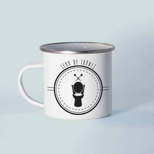 "Mug en métal émaillé jeu de mots ""jeux de trônes"""