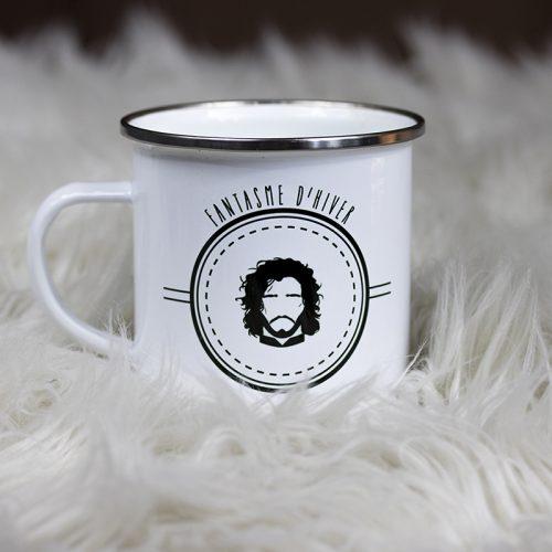 Mug en métal émaillé Jon Snow dans une fourrure