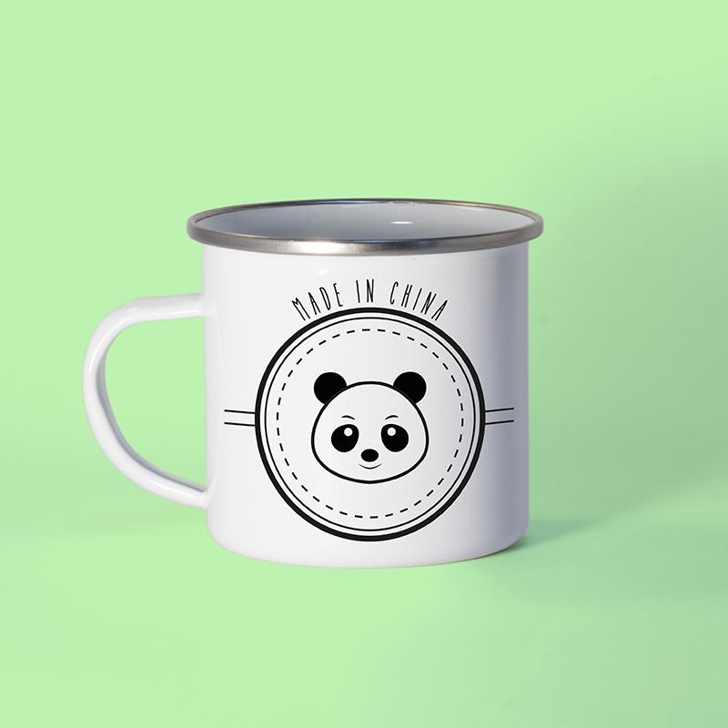 Mug métal émaillé avec un panda