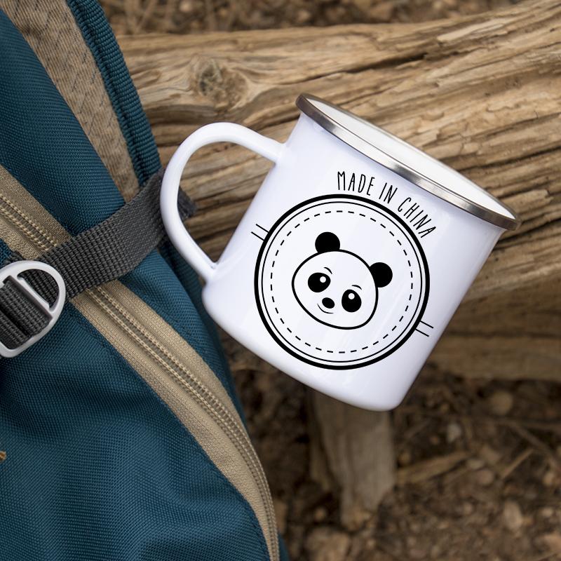 Mug humoristique en métal émaillé Panda