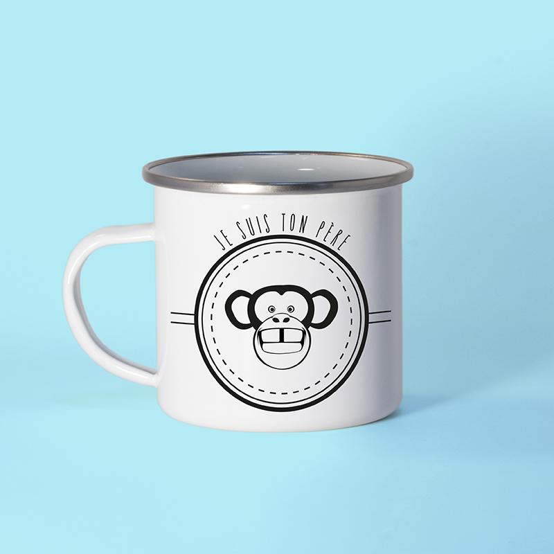 Mug métal émaillé avec un singe