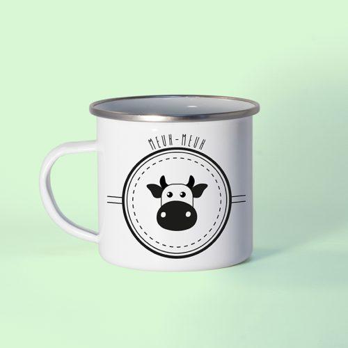 Mug en métal émaillé vache