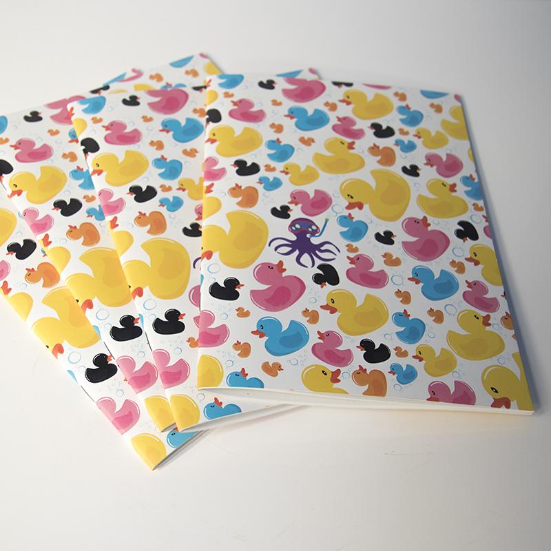 Carnet de notes avec des canards multicolores