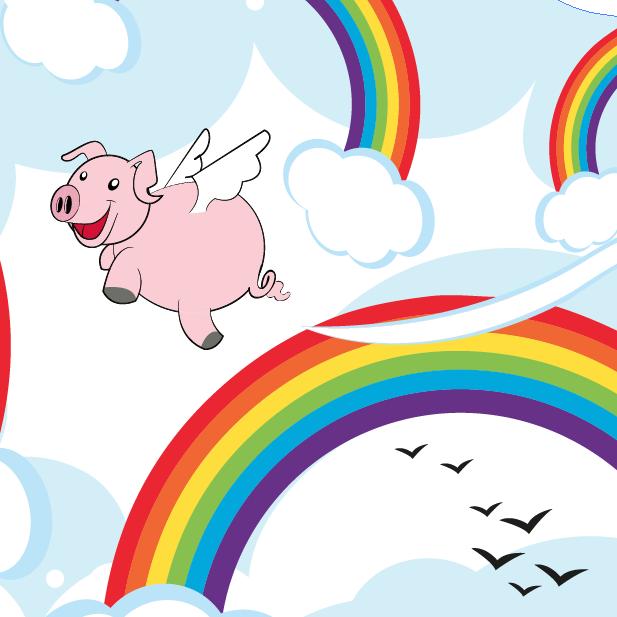 Détails du mug en métal émaillé avec des arcs en ciel et un cochon volant