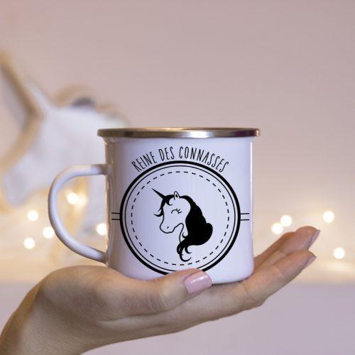 Mug métal émaillé Licorne ambiance féérique