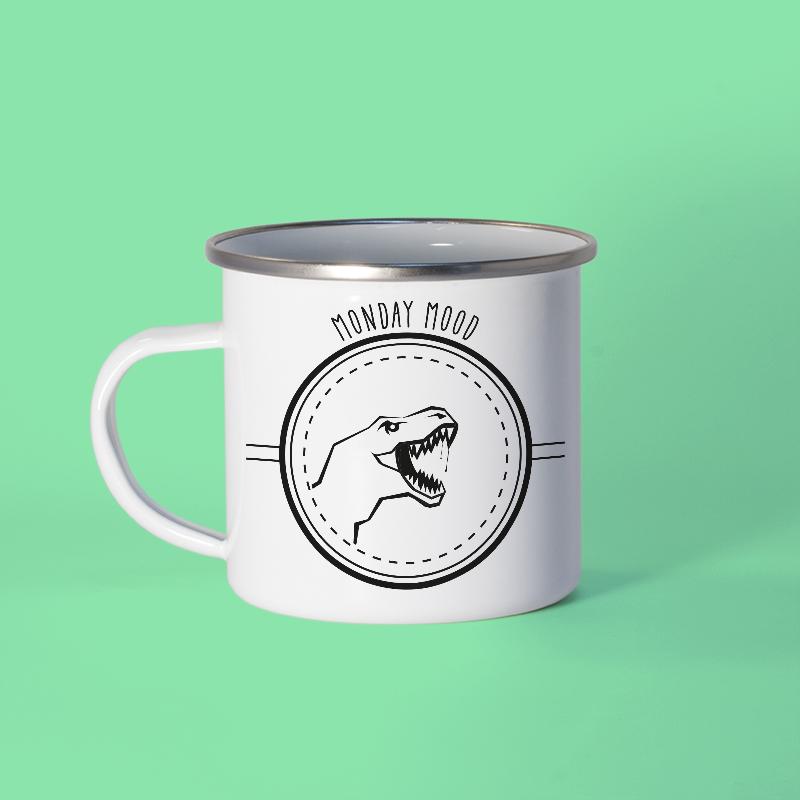 Mug en métal émaillé avec un dinosaure