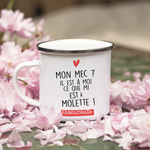 "Mug émaillé ""Amoureuse"" de la collab Zoé la Modeuze"