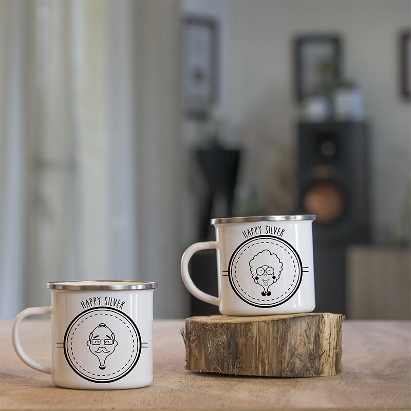 Duo de mugs en métal émaillé papi et mamie