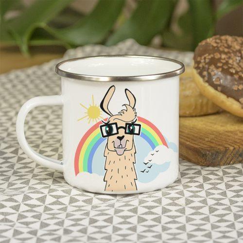 Mug en métal émaillé avec un lama à lunettes