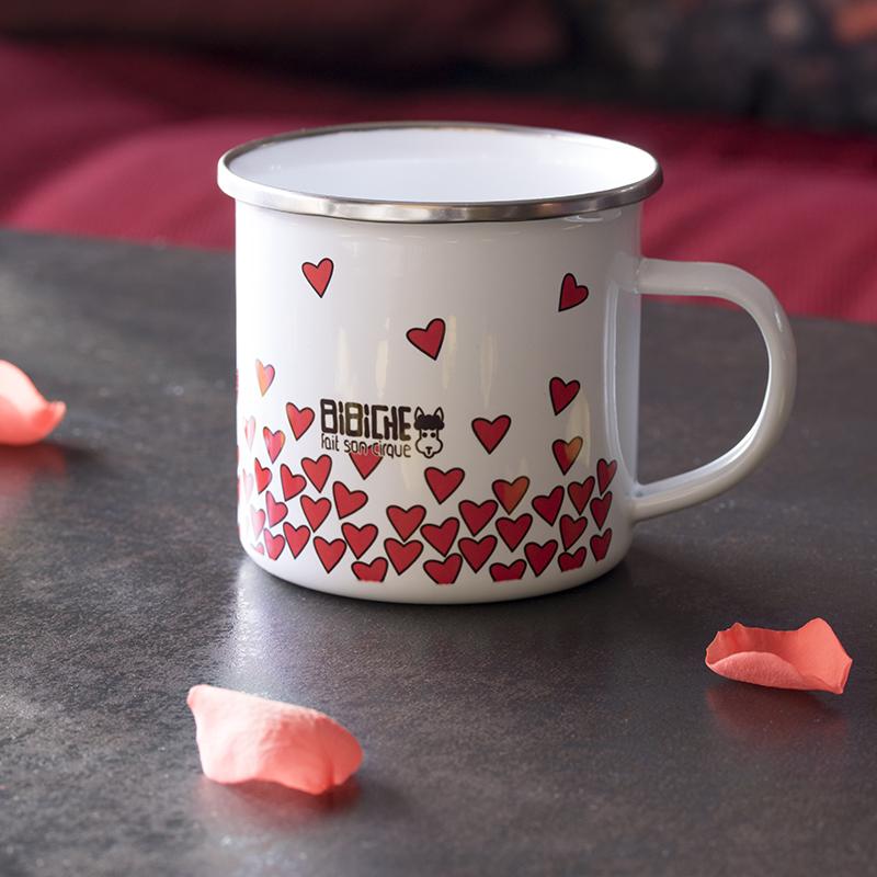 Verso du mug en métal émaillé Lovely