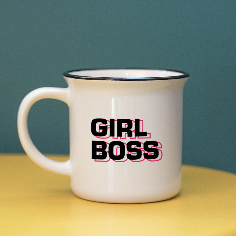 Typographie néon rose pour personnaliser un mug céramique